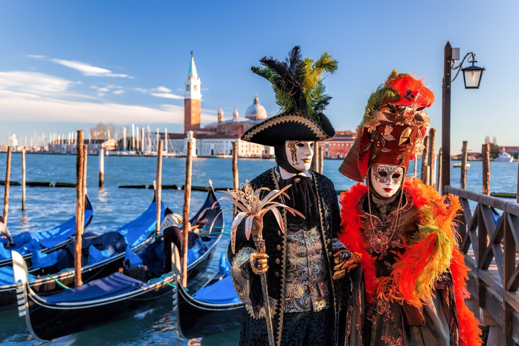 Masked costume couple, Venice Carnival