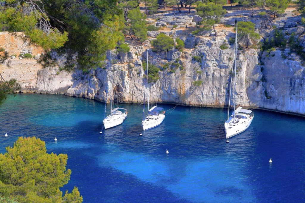 Yachts moored in Cassis, France